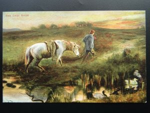 Shire horse Smithy & Farrier THE CAST SHOE c1903 Postcard by Valentine