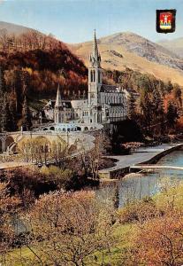 France Lourdes The Basilica and the Gave La Basilique Pont Bridge River Panorama