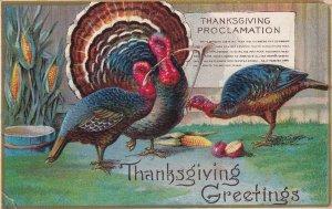 THANKSGIVING, PU-1910; Greetings, Wild Turkeys, Proclamation, Wishbone, Corn