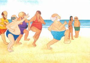 Aiken Graphics North Devon seaside humour comic beach joggers