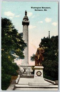 Baltimore MD~Washington Monument~Severn Teackle Wallis Statue~Lawyer~POW~c1910