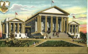 Richmond, Virginia, State Capitol, Coat of Arms (1910s) Gold Embossed