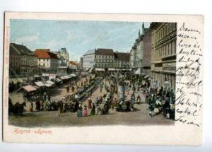 152106 Croatia ZAGREB AGRAM Market Jellachich Platz Vintage PC