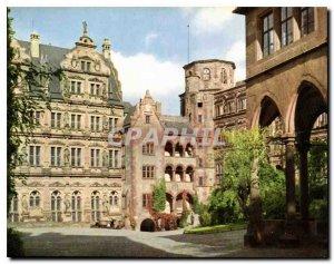Postcard Modern Heidelberg Schlobhot Chateau court
