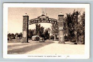 RPPC of  North Bay Ontario Canada, South Entrance c1955 Postcard