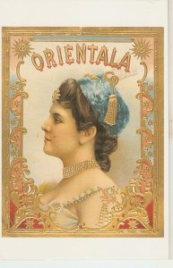 Orientala Nice modern Spanish Cigar Box Label Postcard. Continental size
