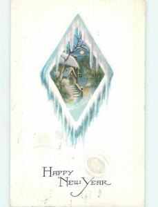 Divided-Back new year HOUSE IN ICICLE COVERED DIAMOND o4709