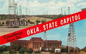 Greetings From Oklahoma State Capitol~Oil Wells~Lincoln Boulevard~1950s~Postcard