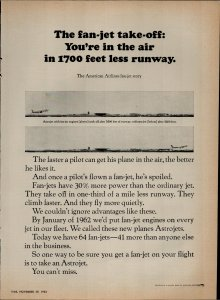 1963 American Airlines Astrojet The Fan Jet Takeoff Vintage Print Ad 1650