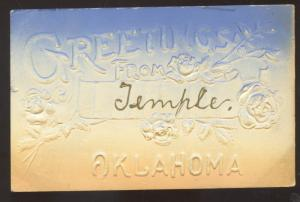 GREETINGS FROM TEMPLE OKLAHOMA EMBOSSED STOVER MISSOURI VINTAGE POSTCARD