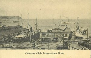 Vintage Postcard Asiatic & Alaskan Sea Liners at Docks Seattle WA Pier 6 Wharf