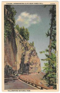 WY Yellowstone Park Overhanging Cliff Near Tower Fall Haynes Linen Postcard