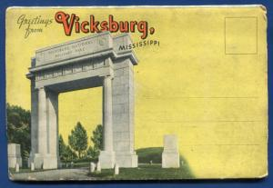 Vicksburg Mississippi ms Military Park riverboat river postcard folder #3