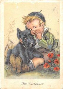US4834 Im Vertrauen Little Boy Whispering to Dog Postcard