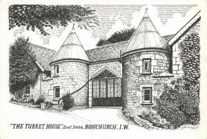 Art Sketch Postcard The Turret House Bonchurch Isle of Wight by Don Vincent AS1