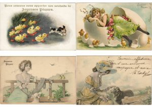 EASTER LOT OF EMBOSSED, ARTIST SIGNED 400 CPA Pre-1930 w.BETTER, PART I. (L3112)