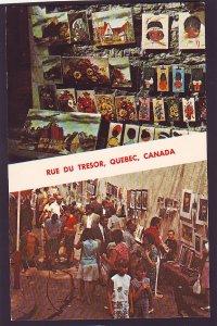P1423 vintage unused RPPC rue du tresor, art show paintings etc quebec canada
