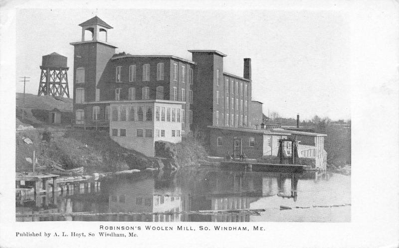South Windham Maine~Robinson's Woolen Mill~Dock~Water Tower~1905 B&W Postcard