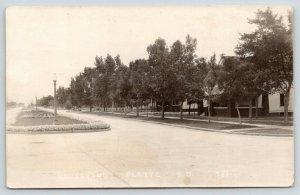Platte South Dakota~Boulevard~Flower Beds in Center of Street~1930s RPPC