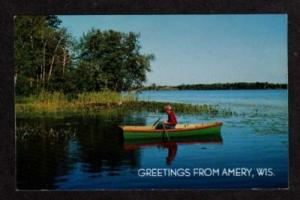 WI Greetings from AMERY WISCONSIN Postcard PC Boat