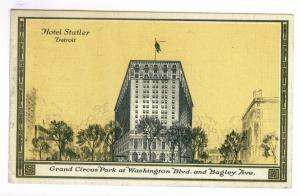 Detroit, Michigan to Chanute, Kansas 1940 used Postcard, Hotel Statler, Slogan