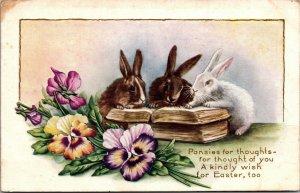 Vintage Embossed Postcard Easter Greeting Poem Rabbits w/ Pansies Floral Motif
