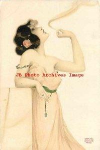 Raphael Kirchner, Koch & Britroil No 4501, Smoking Woman, Art Nouveau