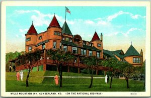 1930s Cumberland, Maryland Postcard WILLS MOUNTAIN INN On the National Highway