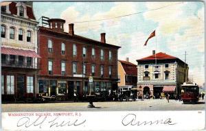NEWPORT, RI Rhode Island    WASHINGTON SQUARE  Street Scene  1906   Postcard