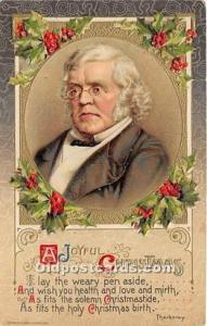 Christmas Holiday Postcard William Makepeace Thackeray, English Novelist Unused
