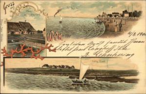 Gruss Aus Wyk auf Fohr Multi View 1890s Postcard