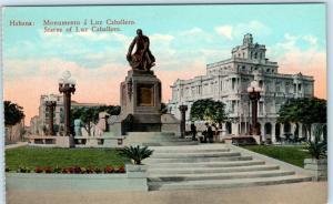 HAVANA, CUBA   Monument a LUZ CABALLERO Statue  ca 1910s   Postcard