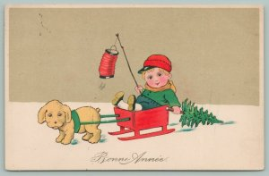 New Year~Puppy Pulls Lil Boy In Red Box Sled~Drags Tree~Red Japanese Lantern