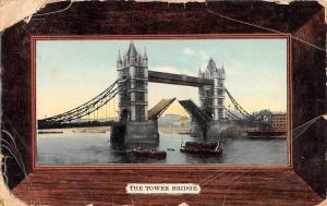 England London The Tower Bridge Boats 1908