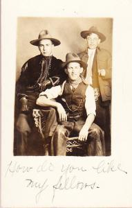 Three guys in Western Clothes Real Photo