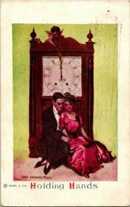 Vtg 1913 James Montgomery Flagg Postcard Holding Hands