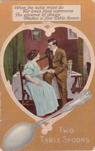 Romantic Couple Sitting By Table Two Table Spoons 1909