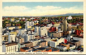 Washington Seattle Aerial View Of Shopping and Business District 1940 Curteich
