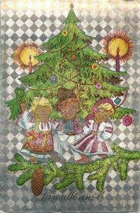 Romania novelty Postcard Christmas decorated tree ethnic type folk illustration