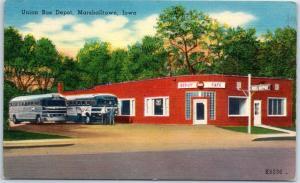 Marshalltown, Iowa Postcard UNION BUS DEPOT Greyhound Bus Café Coke Sign Linen
