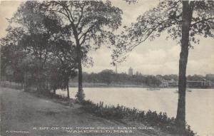 26159 MA, Wakefield, 1916, view of lake and town in background