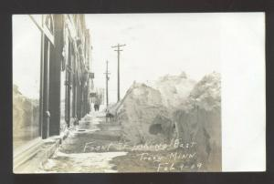 RPPC TRACY MINNESOTA DOWNTOWN STREET SCENE WINTER SNOW REAL PHOTO POSTCARD