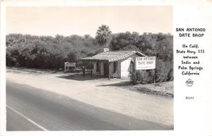 E58/ Indio California Postcard Palm Springs RPPC c40s San Antonio Date Shop