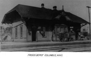 Columbus Kansas Frisco Railroad Depot Real Photo Vintage Postcard K89125