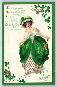 Postcard St Patrick's Day Girl Green Dress Erin Go Bragh a/s Clapsaddle Q19