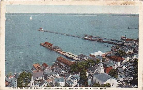 Massachusetts Cape Cod Provincetown Harbor And Wharf From Pilgrim Memorial Mo...