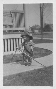 F71/ Interesting Real Photo RPPC Postcard Child Sword Hat 16
