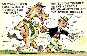 Humour Man Walking Horse