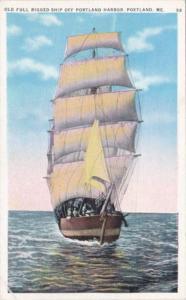 MaIne Portland Old Full Rigged Ship Off Portland Harbor