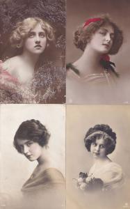 Teenager Fashion Dresses 4x Antique Edwardian Glamour Postcard s